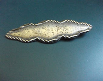 Vintage Alpaca Mexico Silver Floral Etched Bar Brooch Pin