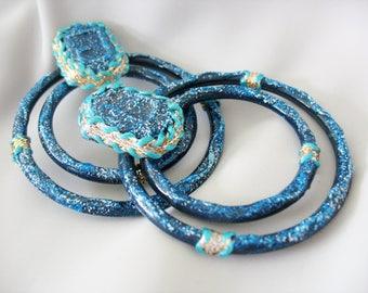 Large Circle Earrings, Blue Sparkle, Artisan Made, Tribal Flare, Pierced, Oversized, Runway, Hoop Earrings
