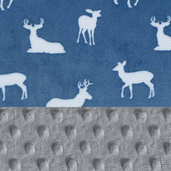 Deer Baby Lovey, Mini Personalized Baby Blanket Boy, Minky Blanket, Blue Gray Deer Blanket, Baby Shower Gift, Newborn lovey Gift, Baby Boy
