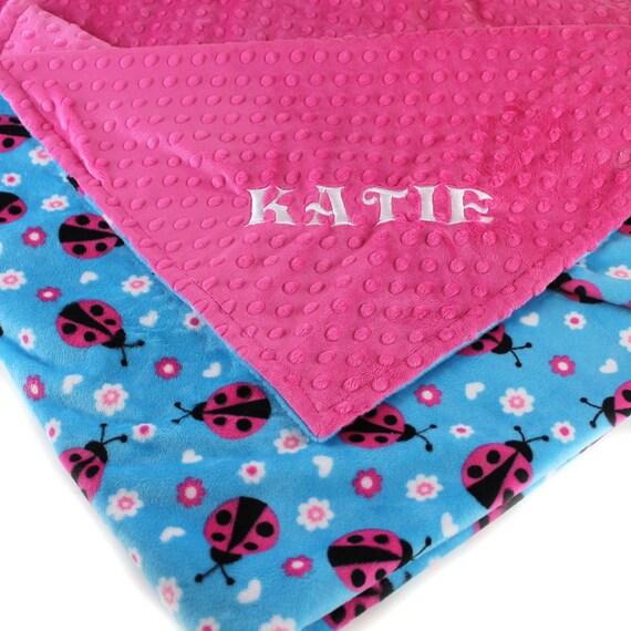 Personalized  Blanket / Minky Baby Blanket Girl, Baby Girl Ladybug Baby Blanket- Fuchsia // Ladybug Blanket // Name Baby Blanket / Baby Gift