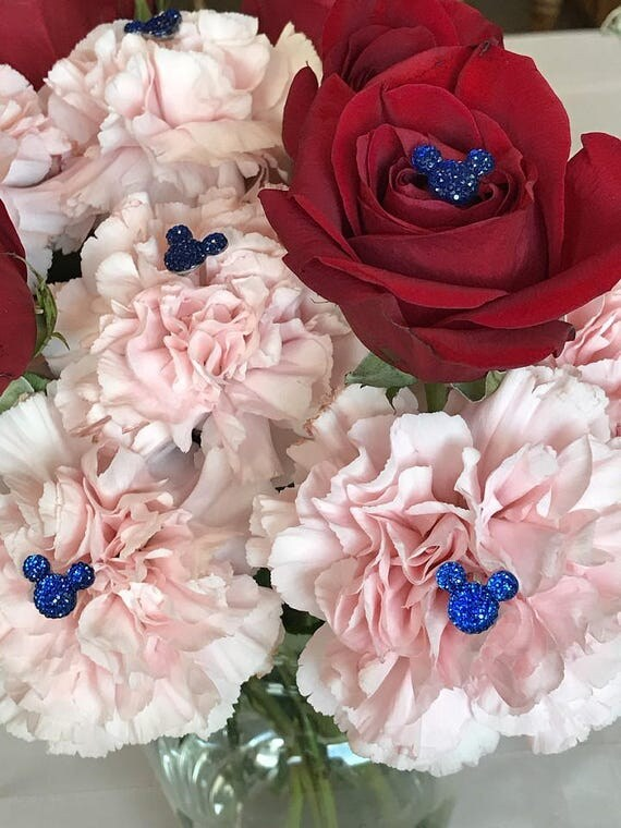 6 Hidden Mickey-Disney Inspired-Mouse Ears Bouquets-Wedding Flower Picks-Floral Pins-Flower Posts-Royal Blue Bridal Flowers-Bouquet Picks