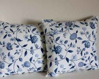 Naussau Vine Toile Blue Floral Pillow Covers - Select Your Size