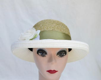 Kettle Brim Straw Hat With Flower / Womens Summer Hat /  Womens Vintage Inspired  Two Tone Kettle Brim Hat With Silk Flower And Feather Trim