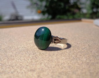 Malachite Ring, Gemstone Oval on Adjustable Silver Tone Ring Base, Prosperity and Success Stone, Protection Stone, Healing Stone