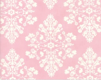 Lily and Will Revisited by Bunny Hill for Moda  Cottontail damask in pink choose your cut  YES! Continuous fabric cuts, combined shipping