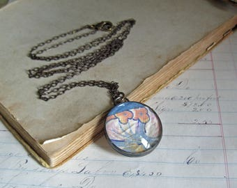 Handstitched Quilt Top Necklace, Glass Soldered Jewelry