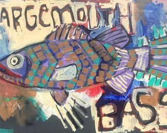 "Folk Art Wood Painting - Large Mouth Bass - Acrylic Painting with Marine Varnish 22"" x 12"""
