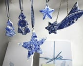 Set of 5 Christmas Decorations - Delft Blue  - Hand painted  Blue and white Delftware  porcelain