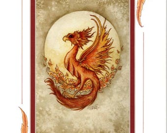 Hand Accented Fire Phoenix PRINT 5x7 matted 8x10 by Amy Brown