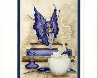 Hand Accented book fairy PRINT 5x7 matted 8x10 by Amy Brown