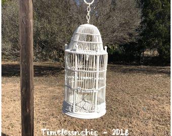 Large Vintage White Wicker Birdcage - Decorative Birdcage - Vintage Birdcage - Shabby Chic Decor  - Bird Cage - White Birdcage - Birdcage