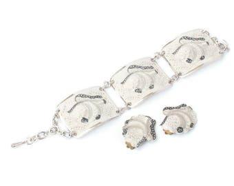 Enameled Cream Aluminum Bracelet Earrings Imitation Marcasites Vintage Set Chunky Bold