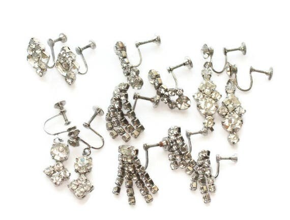 Lot of Clear Rhinestone Screw Back Earrings Six Pairs Destash Clearance Vintage