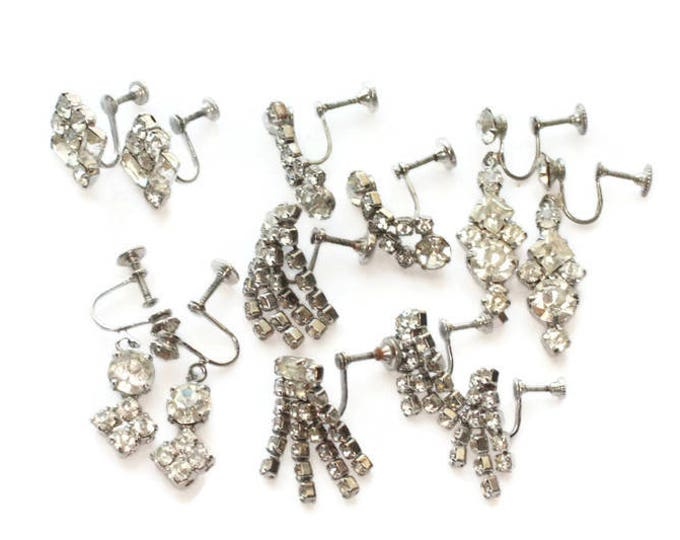 Lot of Clear Rhinestone Screw Back Earrings Six Pairs Destash Clearance Vintage