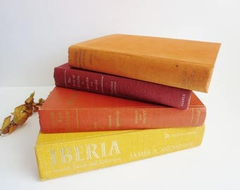 Vintage Book Collection - Autumn Fall Colors Book Collection - Four Decorative Books - Book Home Decor - Instant Library -