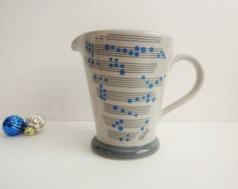 Vintage Baldelli Pitcher - Modern Ceramic Pitcher or Creamer Made in Italy by Baldelli - Gray Pitcher With Music Notes - Gray Blue Pitcher