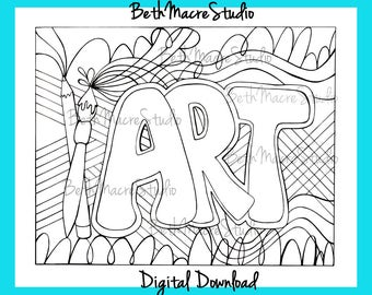 Printable Drawing |Art Letter Design | Coloring page | Digital Download | Digital Print | Black and White Print | Word Art | Paintbrushes