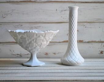 Milk Glass Vase, Milk Glass Centerpieces, Milk Glass Compote, Wedding Decor, Wedding Flower Centerpieces