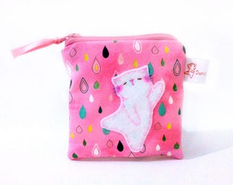 Dancing kitty, cat coin purse, pink cat purse, coin pouch, coin wallet, rain drops, small change purse, coin purse, cute pouch, pink pouch