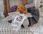 stuffed fabric pumpkin - burlap leaf and owl tag - Halloween decor - NO452