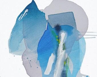 "Abstract Expressionist Meditative Painting, Original Art purple/grey, green, blue 25 x 25"" - ""Canto II- Horsetail"" modern canvas lyrical art"
