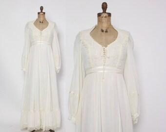 Vintage 70s GUNNE SAX Dress / 1970s Semi Sheer Ivory Boho Wedding Bridal Maxi Dress M