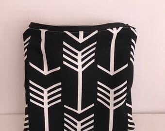 Zippered Wet Bag with Waterproof Lining - Black with White Arrows