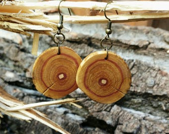 Salvaged Lilac Earrings, Boho Wood Earrings, Rustic Tree Slice Earrings