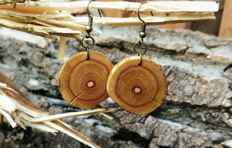 Salvaged Lilac Earrings Boho Wood Earrings Rustic Tree Slice