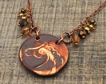 Brown horse necklace, antiqued brass chain, earthtones boho jewelry matte ceramic 20 3/4 inches long
