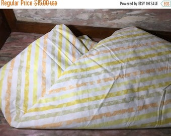 Christmas Sale Vintage 1970s Bed Sheet STRIPED Full Fitted Stripe Bedding Yellow Orange