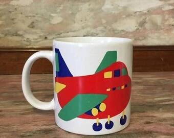 Christmas Sale Vintage Mug AIRPLANE 1980s Graphic Primary Color Childrens