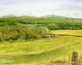 Original Art Nature Art Vermont Landscape Original Watercolor Painting Picturesque Scene Painting of Fields Mountains