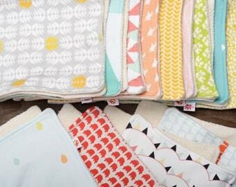 Organic Burp Cloths - Set of Three - CHOOSE ANY 3