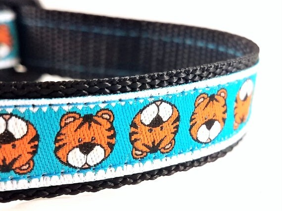 Mighty Little Tiger - Dog Collar / Handmade / Adjustable / Tiger / Teacup / Mini / Small Dog Collar