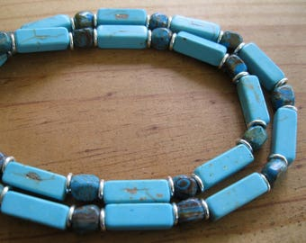 Turquoise Magnesite, Blue Sky Jasper, Sterling Silver Necklace - Womens Blue Necklace, Southwestern Necklace, Native American Necklace