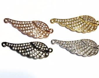 Micro Pave wing charm connector with real CZ cubic zirconia 4 metal colors to choose from