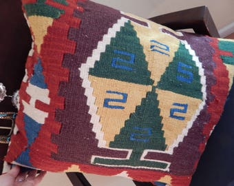 turkish rug pillow, kilim pillow cover, wool pillow
