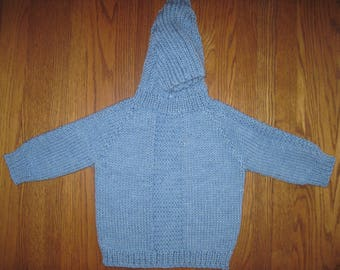 Baby Sweater Hand Knit Hooded Back Zip Hoodie 12 to 18 Months Baby Blue Color Easy Care Acrylic Merino Blend Free US Shipping