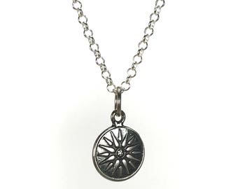 Sterling silver Macedonian Virginia Sun necklace - Greek jewelry