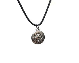 Evil eye necklace - black cord  - Greek jewelry - gift for him - protection - Good luck