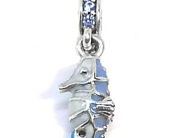 Authentic Pandora Tropical Seahorse dangle charm 791311mcz + pocket box