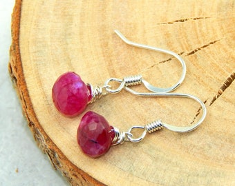 Ruby Earrings,July Birthstone,Red Ruby Earrings, Wrapped Gemstone Earrings, Sterling Silver