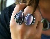 A Day of Luxury - Dendritic Agate and Purple Chalcedony Sterling Silver Ring