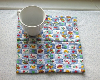 MARKED DOWN was 9 now 6 vintage fabric hand quilted life is a picnic hand quilted set of mug rugs coasters