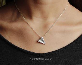 origami - paper plane pendant - origami jewelry - sterling silver necklace - calcagninigioielli