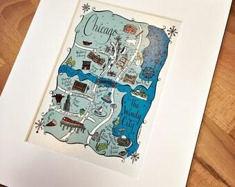 Chicago City Map Art Print