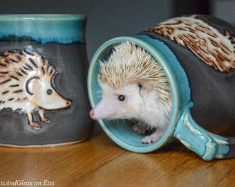Wheel Thrown Hand Carved Hedgehog Mug in Steel Gray Shino and Antique Jade Glazes- Ready to ship