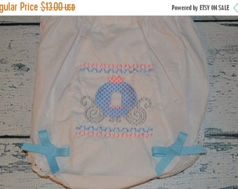 ON SALE Princess Carriage Bloomers Diaper Cover  with smocked look