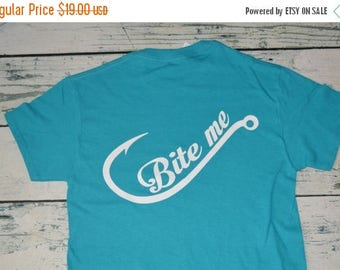 Bite me shirt etsy for Fishing shirts on sale